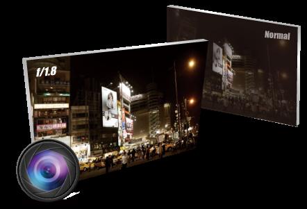 f/1.8 Large Aperture Glass Lens  Super Low-Light Performance